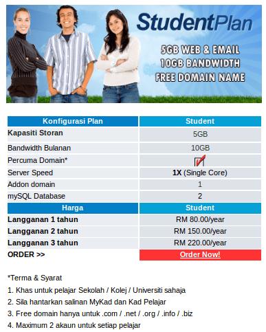 Jom Hosting Student Plan