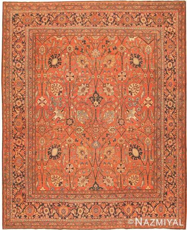 Large Mahi Fish Design Antique Persian Tabriz Rug 50616