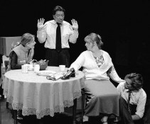 "Brent Dawes, Michelle Daigle, Meghan Mesheau and Andrew Jones in ""Burnt Offerings"" 2003 One Act by Sherry Coffey & Ian LeTourneau (photo: Stephen Moss)"
