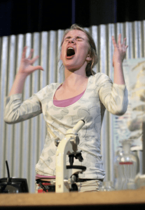 "Hilary Ball in ""Our Mouths Are Filters: Documenting the Brink"" 2008 One Act by Kathleen Brown (photo: Stephen Moss)"