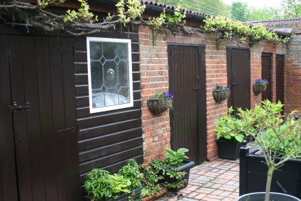 Courtyard- Hostas, Vine, Sweet Williams (on their way to flowering)