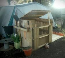 Compost bin and tool rack