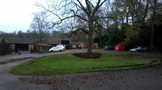 Leaves cleared to the centre awaiting collection...