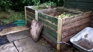 The (nearly) refurbished compost bins..now with sliding slats that will make access so much easier
