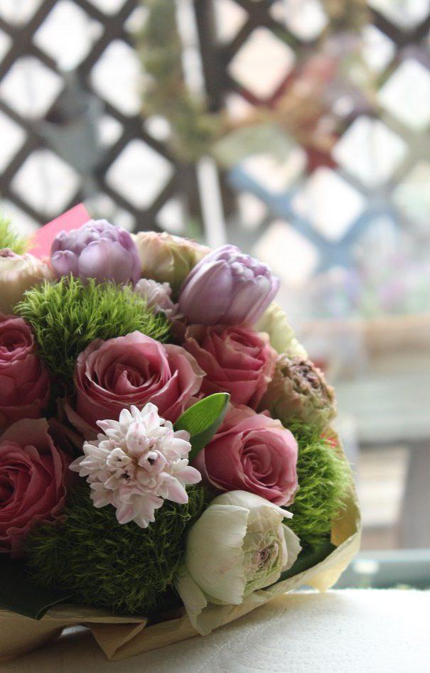 フラワーアレンジメント,チューリップ花束,生花レッスン、