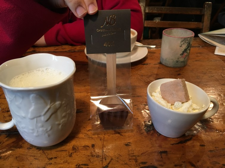 Chocolate spoon and steamed milk