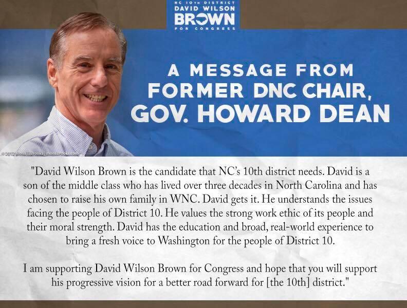 David Wilson Brown earns endorsement from Howard Dean