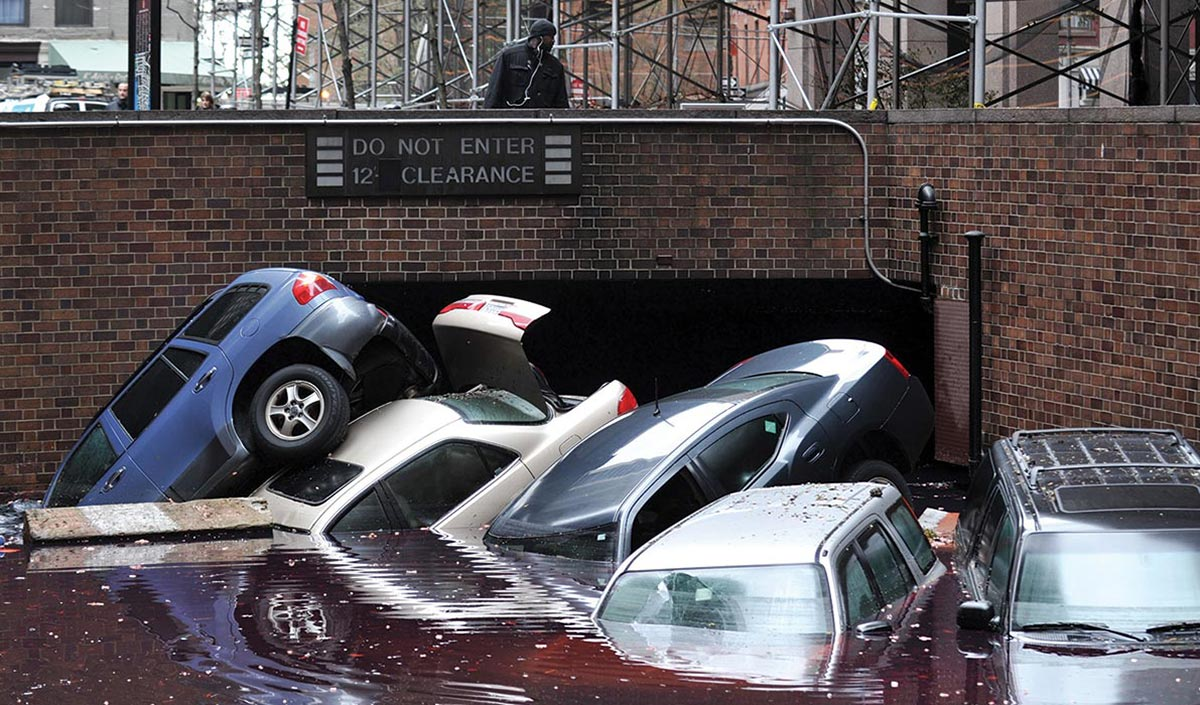 cars in storm surge