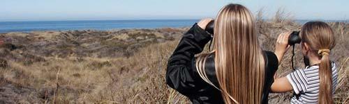 Girls with binoculars