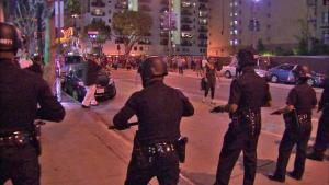 LAPD officer's breaking up the unlawful gathering.