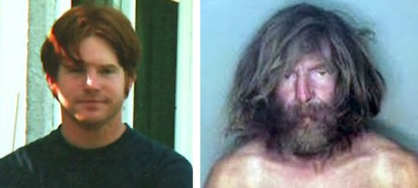 The picture on the left is Thomas circa 1997. The right circa 2009. These images offer interesting testimony into Thomas' decent into schizophrenia.
