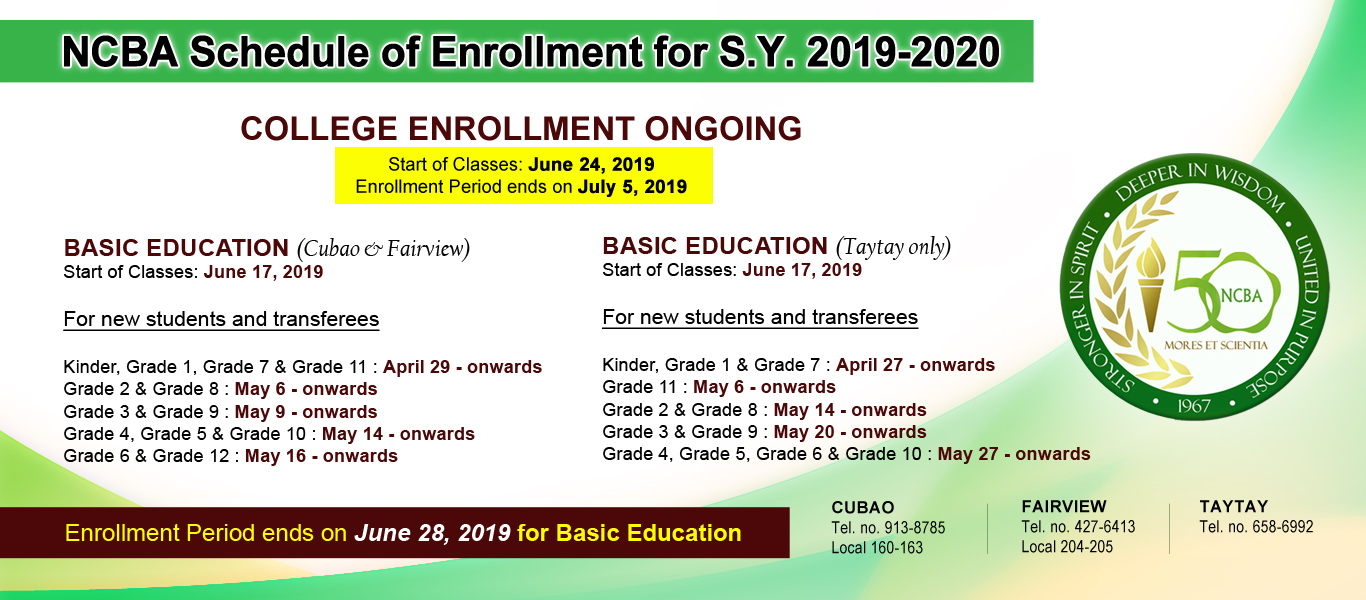 NCBA Enrollment Schedules SY2019-2020
