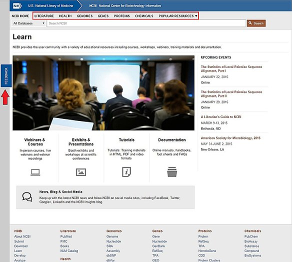 Figure 2. The Learn page. The six category pages are linked at the top, in the header. On the left side of the page, an arrow points to the feedback tab, which you can use to comment.