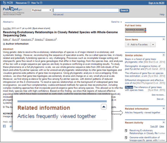 PubMed Also-Viewed feature