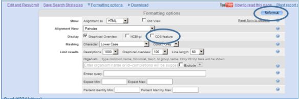 "Nucleotide BLAST formatting options. The ""Reformat"" button and the ""CDS feature"" box are circled."