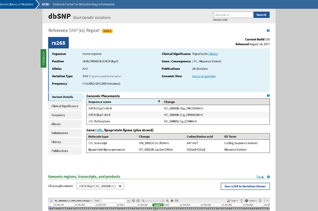 NCBI releases newly designed dbSNP RefSNP Report – Alpha version