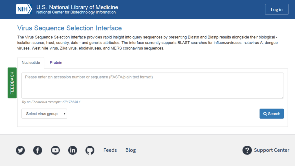 Figure 1. The Virus Sequence Selection Interface.