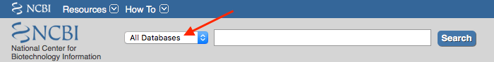 NCBI search bar, red arrow pointing to all databases