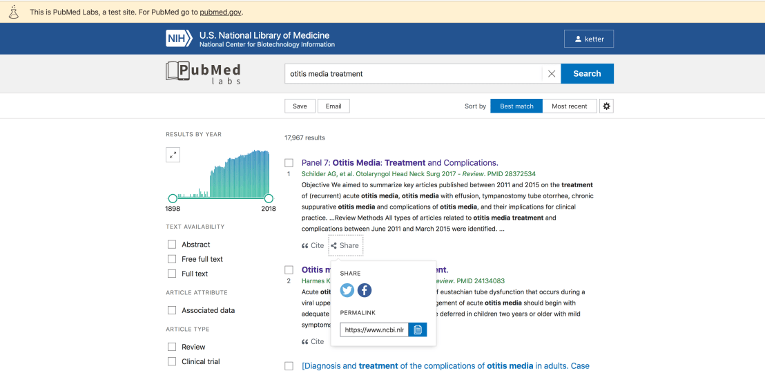 share options in pubmed labs - twitter, facebook and permalink
