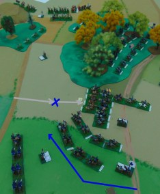Union cavalry moving fast in march column are charged by Confederate cavalry. One Union regiment is destroyed.