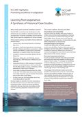 Promoting Excellence in Adaptation: Learning from Experience: A Synthesis of Historical Case Studies