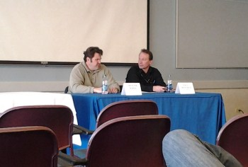 Two Morning Call reporters, Spencer Soper and Paul Muschick, discuss investigative journalism to NCC students
