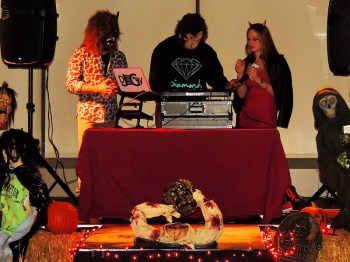 The DJ spins some ghoulish  tunes at this year's Halloween event