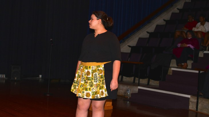 "NCC student Jazmin Sanchez performs the August Wilson play ""Fences"""
