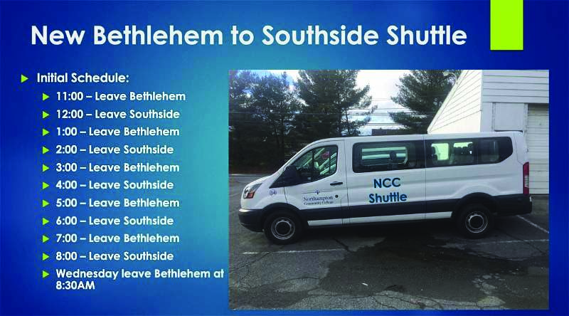 Campus shuttle ride to Fowler Center