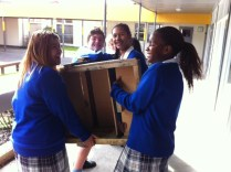 The furniture moving company didn't turn up, the students had to improvise