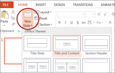 PowerPoint ribbon showing slide layouts