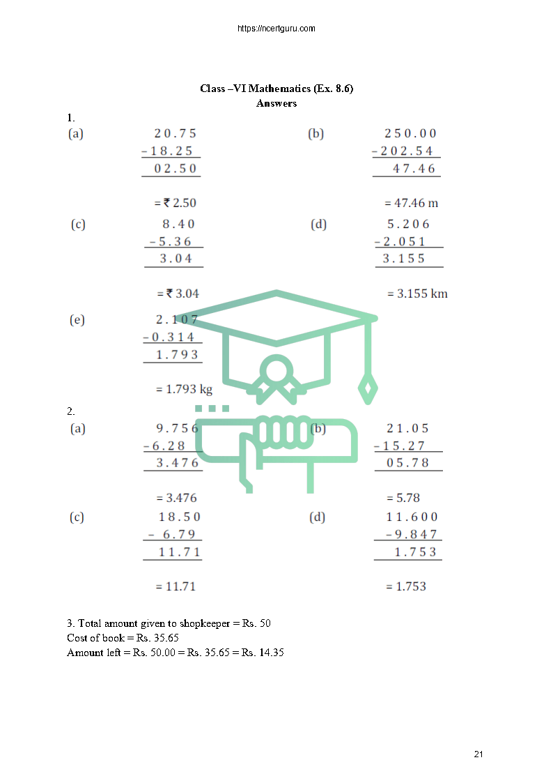 NCERT Solutions for Class 6 Maths Chapter 8