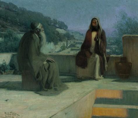 Painting of Jesus and Nicodemus in Conversation