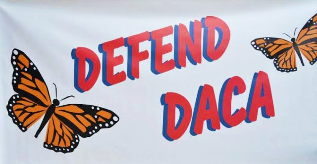 The banner was revealed within hours of the announcement that President Trump intended to phase out DACA over the next six months. (Photo courtesy of Michala Head)