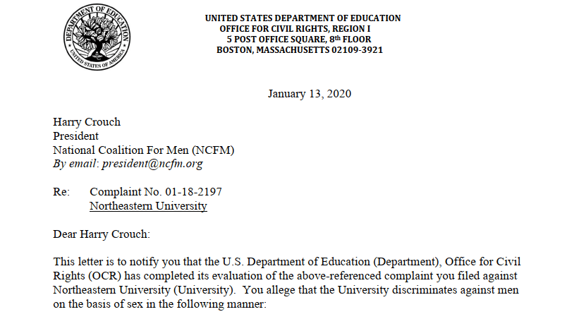 NCFM complaint against Northeastern University accepted for investigation by the Department of Education Office for Civil Rights (OCR)