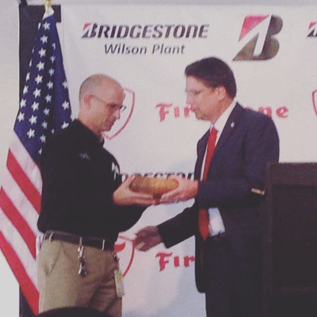 Governor McCrory giving out one of Stuart's bowls at a job creation summit in Wilson, NC