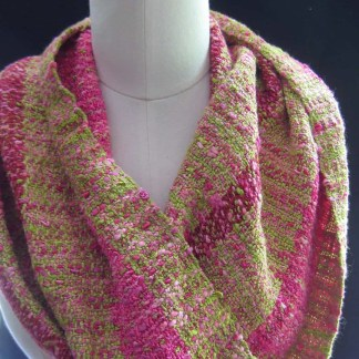 Fuchsia, chartreuse, and burgundy cowl