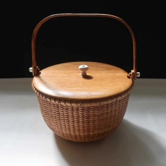 "7"" nantucket basket with cane stakes"