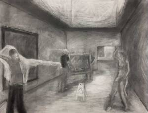 A pencil drawing of a room with people