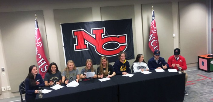 Senior student athletes sign the National Letter of Intent
