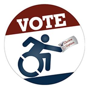 """VOTE Emblem features the universal sybol of accessibility holding a paper with """"Choice"""" check marked and """"Option"""" unchecked"""