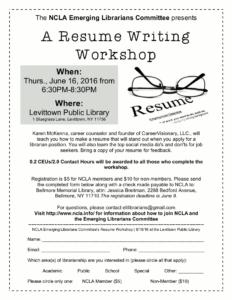 resume writing workshop june 16 ncla