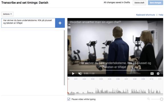 Youtubes videoeditor gør det let at skrive underteksterne, og tilpasse dem til din videofil