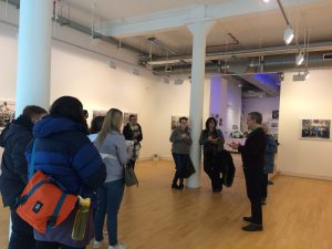 Malcom Dickson, Street Level Gallery Director, talking to HND Photography students
