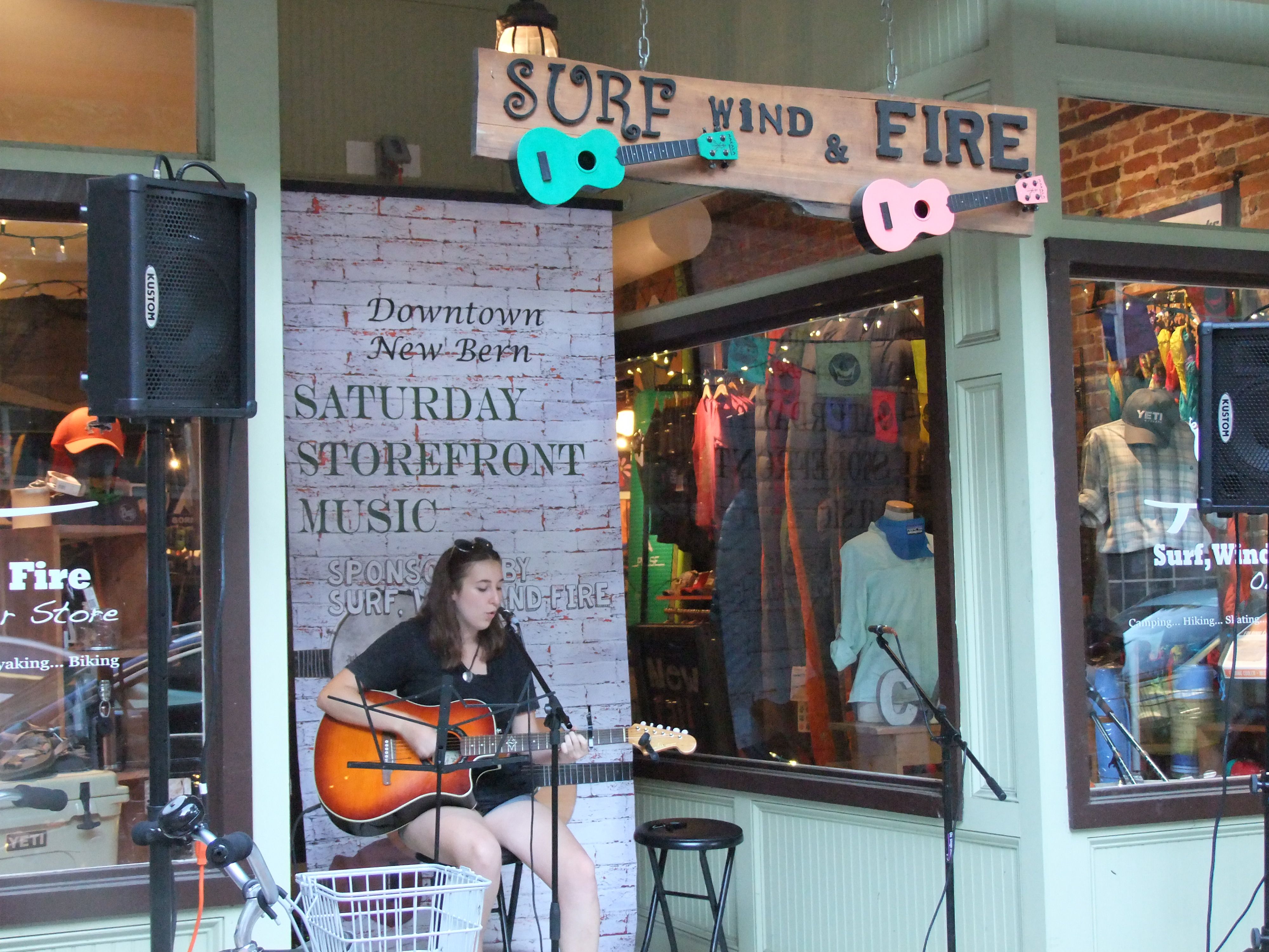 Gabrielle Christy Jamming infront of Surf Wind & Fire on Middle St