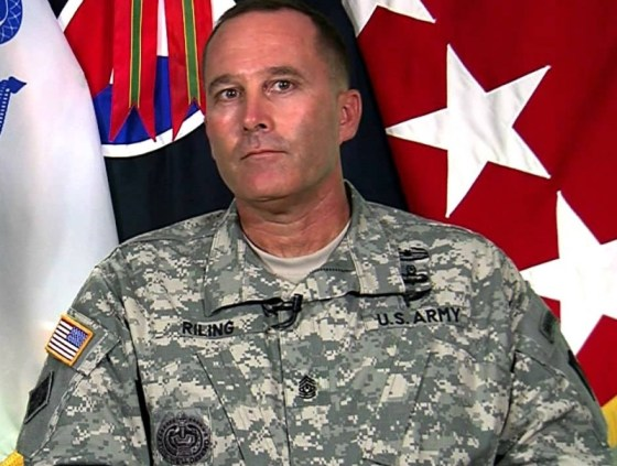 CSM Ronald T. Riling, then as the Command Sergeant Major of the Army Materiel Command in 2013. ACOM CSM