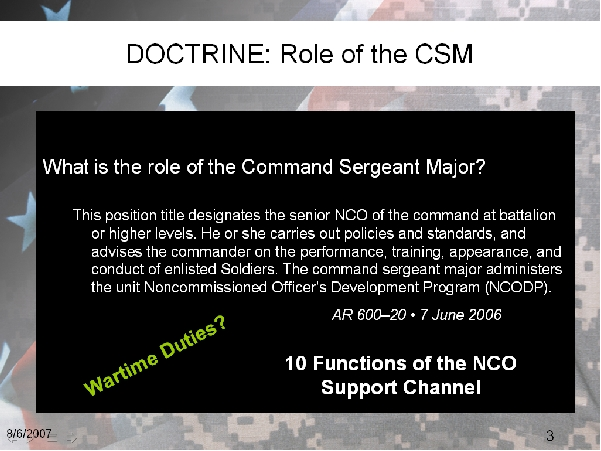 Doctrinal role of the CSM