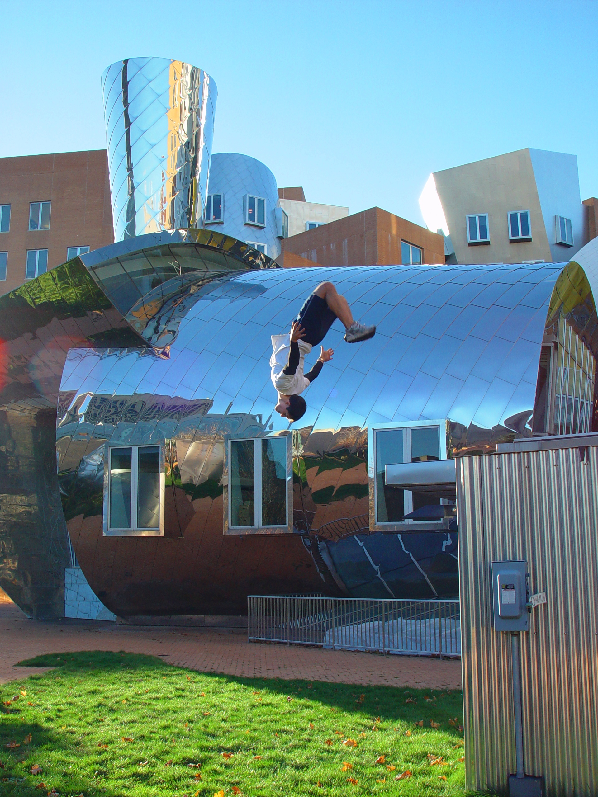 A totally sweet flip off of part of the Stata Center at MIT.