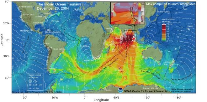 Global tsunami amplitudes from the Indian Ocean Tsunami, Boxing Day, 2004