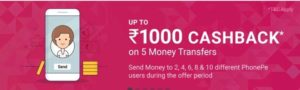 Phonepe - Get Upto ₹1000 Cashback on Money Transfers to Two, Four, Six, Eight, and Ten different PhonePe users